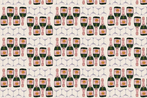 champagne and glasses retro bar cart fabric by cityette on Spoonflower - custom fabric