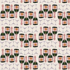 champagne and glasses retro bar cart