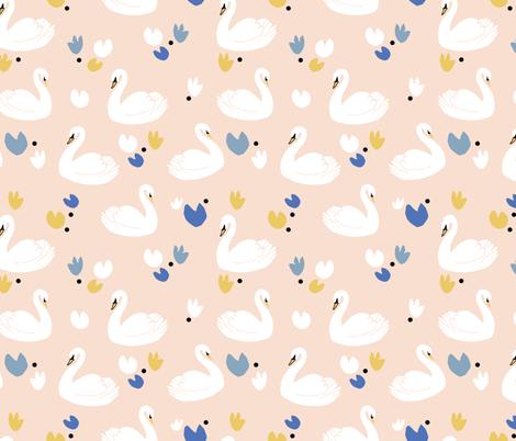 pink swans fabric by gemmacosgroveball on Spoonflower - custom fabric