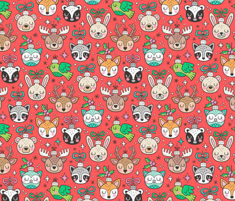 Christmas  Holidays Forest Woodland Animals Baubles Ornaments on Red fabric by caja_design on Spoonflower - custom fabric