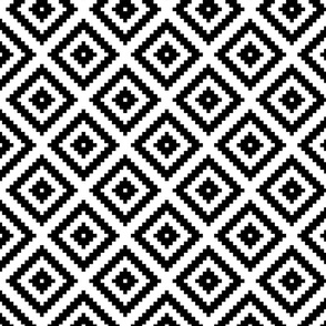 black + white aztec diamonds squares 4in