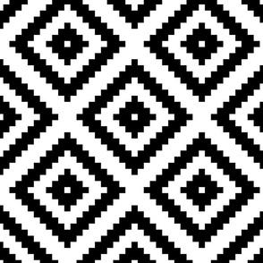 black + white aztec diamonds squares 8in