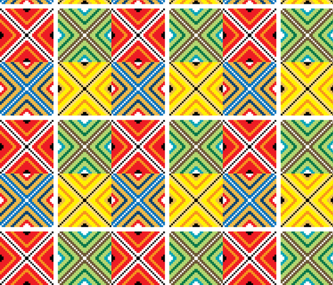 Inca Mosaic Tile Squares fabric by fabric_is_my_name on Spoonflower - custom fabric