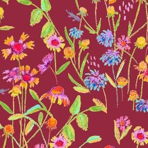 field flowers - brick red