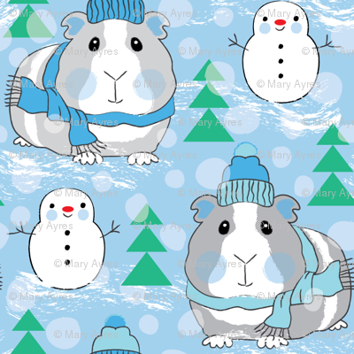 guinea pigs snowmen and trees on blue