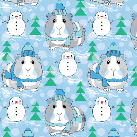 guinea pigs snowmen and trees on blue fabric by lilcubby on Spoonflower - custom fabric