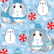 guinea pigs snowmen and candy on blue