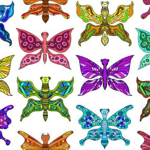 Colorful Rainbow Butterflies on White Bug Pride