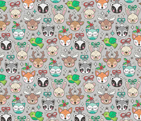 Christmas  Holidays Forest Woodland Animals Baubles Ornaments on Light Grey fabric by caja_design on Spoonflower - custom fabric