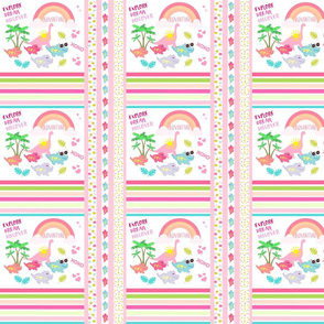 Dino quilt MED7 -tropical stripes