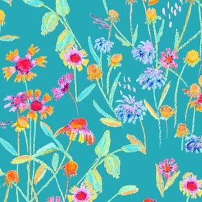 field flowers -teal