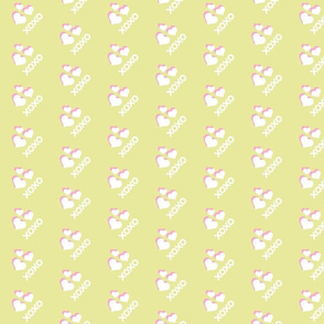 Hearts xoxo SM267 - pink white on yellow