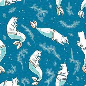 Aqua Blue Magical Cat Mermaid Swimming Pattern