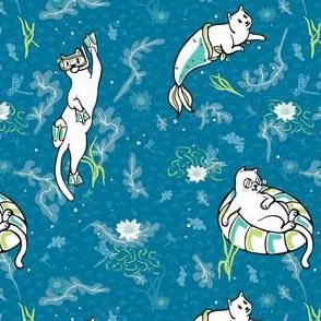 Ocean Aqua Magical Purrmaid Diving Cats Cartoon