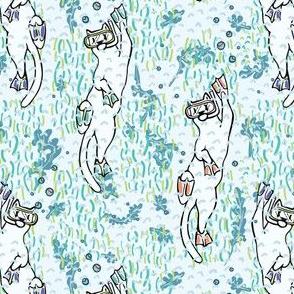 Cute Aqua Cartoon Diving Cats Vector Pattern