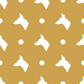 Carolina Dog Silhouette and Polka Dots in Mustard Gold