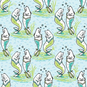 Ocean Aqua Magical Purrmaids Blue Fantasy Pattern