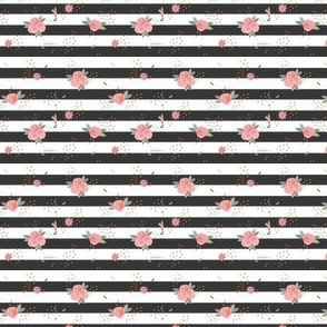 Black and White Stripe Floral