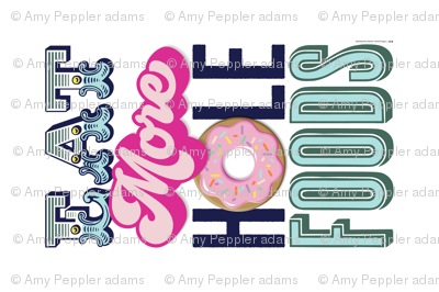 Eat More Hole Foods Tea Towel* || pun typography donut doughnut sprinkles pastel cut and sew kitchen breakfast pastries