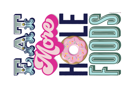 Eat More Hole Foods Tea Towel* || pun typography donut doughnut sprinkles pastel cut and sew kitchen breakfast pastries fabric by pennycandy on Spoonflower - custom fabric