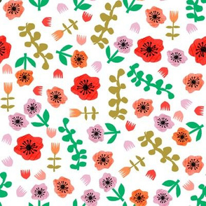pop floral // paper cut outs, cut out, matisse, floral, florals,  pop, colorful bright fabric - white