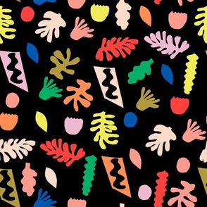 rainbow cut outs // colorful bright pop, paper cut outs, matisse, cute cut out fabric, - black