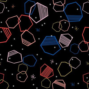 cosmic hexagons // bright, colorful, geometric, shapes, abstract, random, hexagon, cute fabric -  black