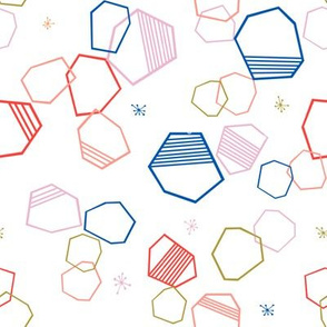 cosmic hexagons // bright, colorful, geometric, shapes, abstract, random, hexagon, cute fabric - white