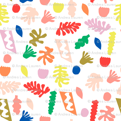 rainbow cut outs // colorful bright pop, paper cut outs, matisse, cute cut out fabric, - white