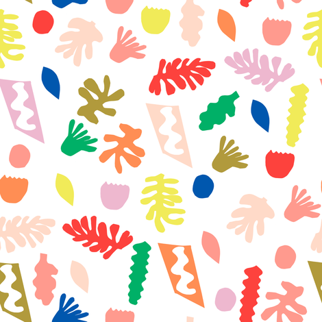 rainbow cut outs // colorful bright pop, paper cut outs, matisse, cute cut out fabric, - white fabric by andrea_lauren on Spoonflower - custom fabric