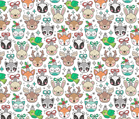 Christmas  Holidays Forest Woodland Animals Baubles Ornaments on White fabric by caja_design on Spoonflower - custom fabric