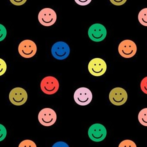 rainbow smiley // cute happy smiles, smiley face, emoji, 90s, retro, kids throwback, cute pop, bright colorful -black