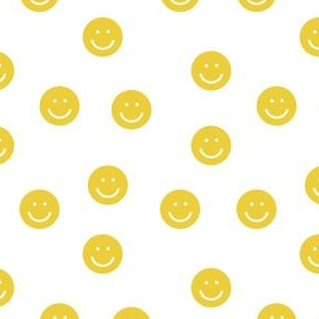 yellow smiley // cute happy smiles, smiley face, emoji, 90s, retro, kids throwback, cute pop, bright colorful - white