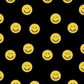 yellow smiley // cute happy smiles, smiley face, emoji, 90s, retro, kids throwback, cute pop, bright colorful - black