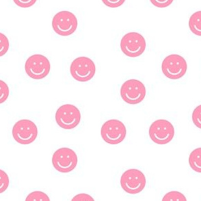 pink smiley // cute happy smiles, smiley face, emoji, 90s, retro, kids throwback, cute pop, bright colorful -