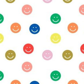 rainbow smiley // cute happy smiles, smiley face, emoji, 90s, retro, kids throwback, cute pop, bright colorful - white