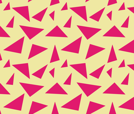 Pink on Cream Retro Triangles, Geometric Shapes fabric by galleryinthegardendesigns on Spoonflower - custom fabric