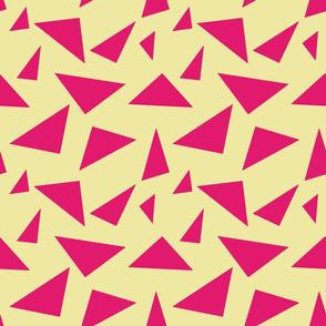 Pink on Cream Retro Triangles, Geometric Shapes