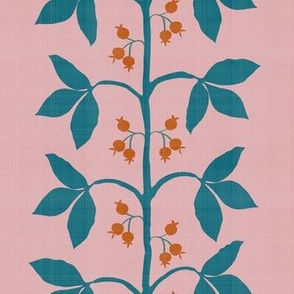 Berry Vine in Teal, Pink and Orange