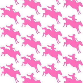 Rodeo Cowboys - Pink on White
