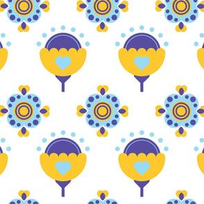 Geometrical flowers repeating pattern