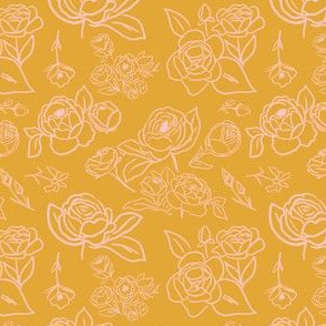 Mustard and Blush Fall Floral Outlines