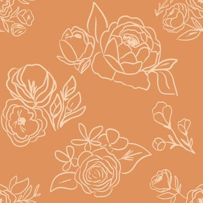 Mustard and Peach Fall Floral Outline