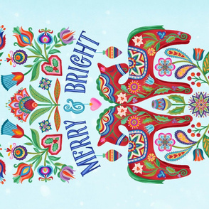 Merry and Bright-Dala Tea Towel