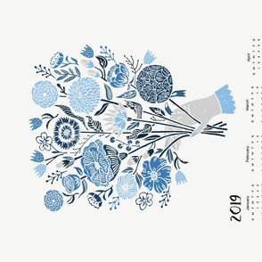 2019 floral botanical calendar // calendar, tea towel calendar, linocut block print by andrea lauren
