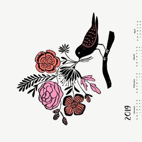 2019 Linocut Bird floral calendar // calendar, block print linocut birds florals
