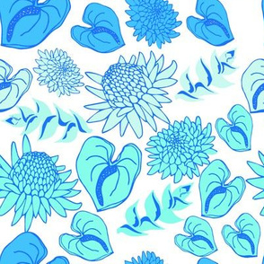 Tropical floral in blue ombre