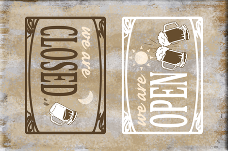 Open for Business Rustic Retro Bar Towel fabric by twix on Spoonflower - custom fabric