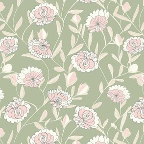Victorian fairy roses pink and sage