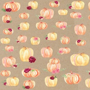 Large Scale Floral Pumpkins Kraft